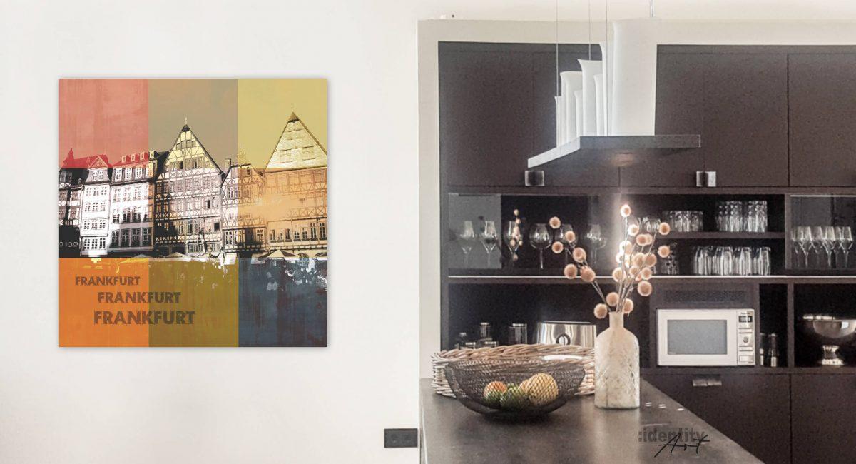 Kunst vom Römer. Frankfurt-Gemälde. In natürlichen, gedeckten Farmen. Macht sich gut in einer modernen Küche.
