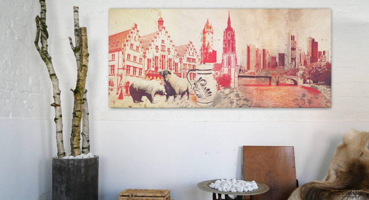Ein echter Hingucker ist diese Collage in Naturtönen und dominierenden Rot. Das Beste, viele Wahrzeichen der Mainmetropole sind zu sehen.