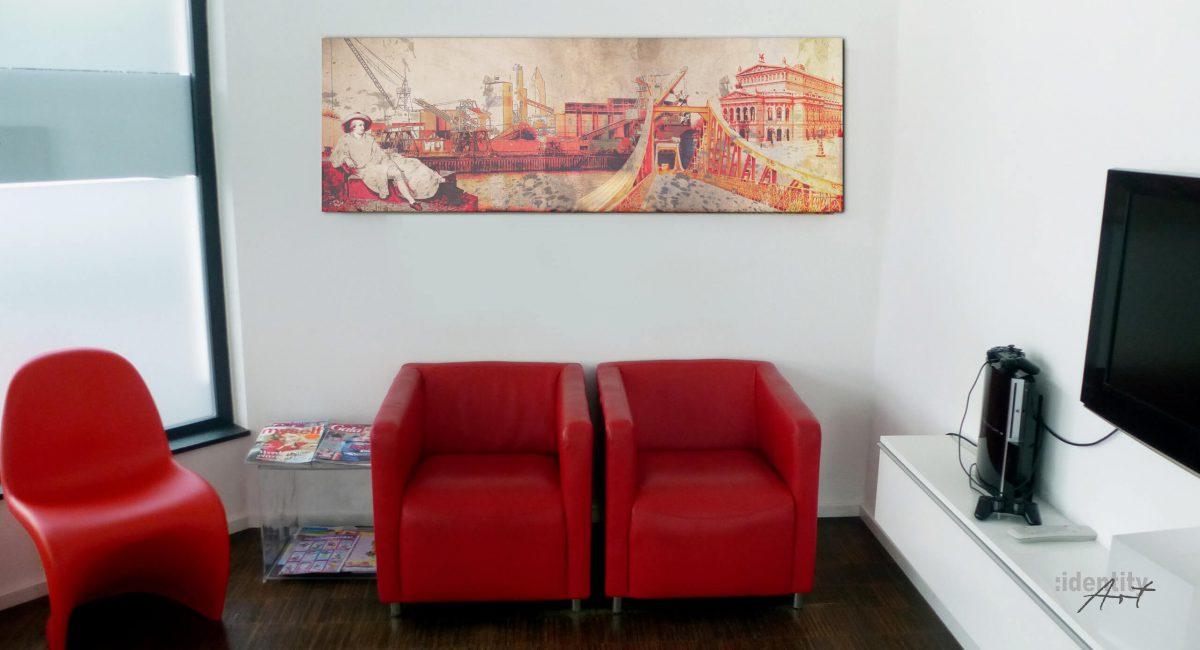 Ebenfalls eine Collage aus dem Atelier von Identity-Art. Macht sich gut, auch über roten Stühlen.